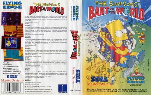 The Simpsons - Bart vs. the World - Master System