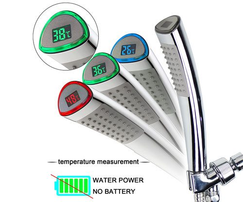 LED-Duschkopf mit Termparturanzeige / Farben ohne Batterien / Stromzufuhr
