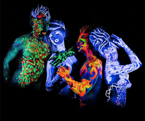 Neon-Körperfarbe / Bodypaint / UV-Licht / Rave Party