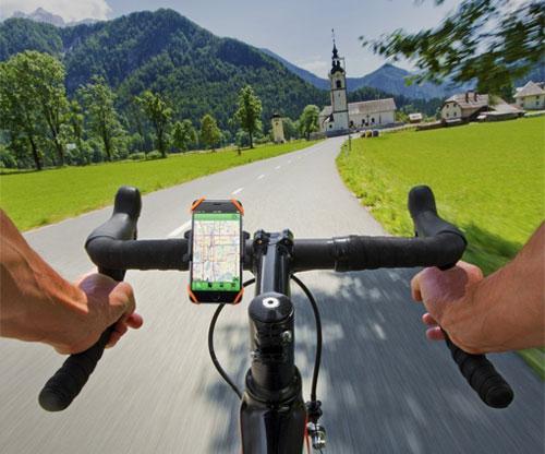 Handyhalterung für das Fahrrad, E-Bike und Mountainbike, verstellbar 360 Grad, stabil, fixiert über Gummibänder